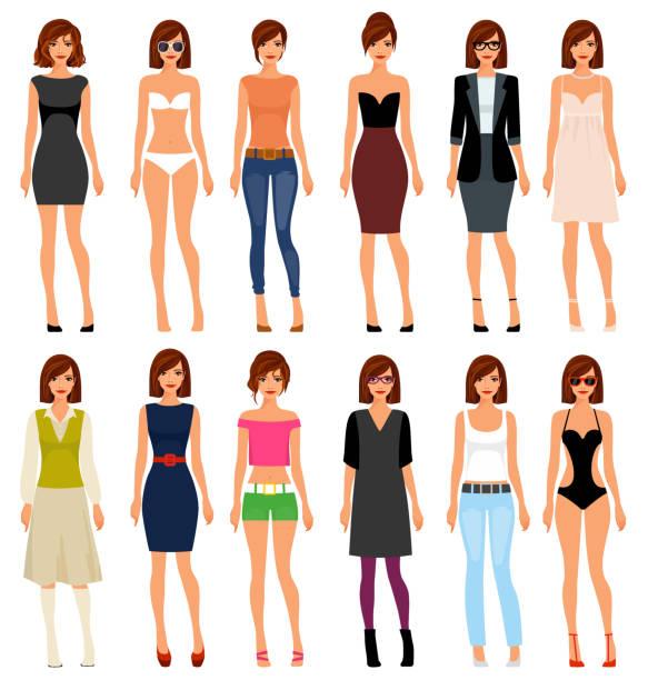 illustrations, cliparts, dessins animés et icônes de une jeune fille dans différents vêtements et les cheveux. illustration vectorielle - modèles de bande dessinée