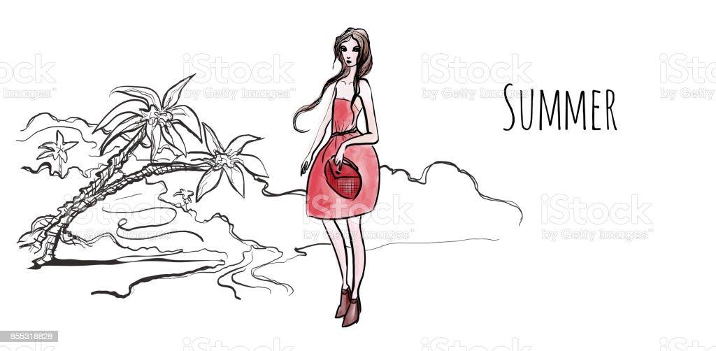 Deniz Sahilinde Palmiye Ağaçları Sahilde Kırmızı Elbiseli Genç Kız