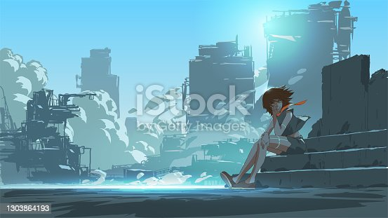 istock young girl in the futuristic world 1303864193