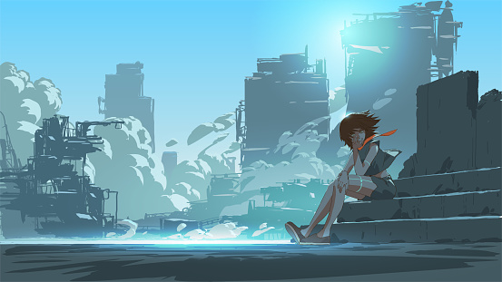 young girl in the futuristic world
