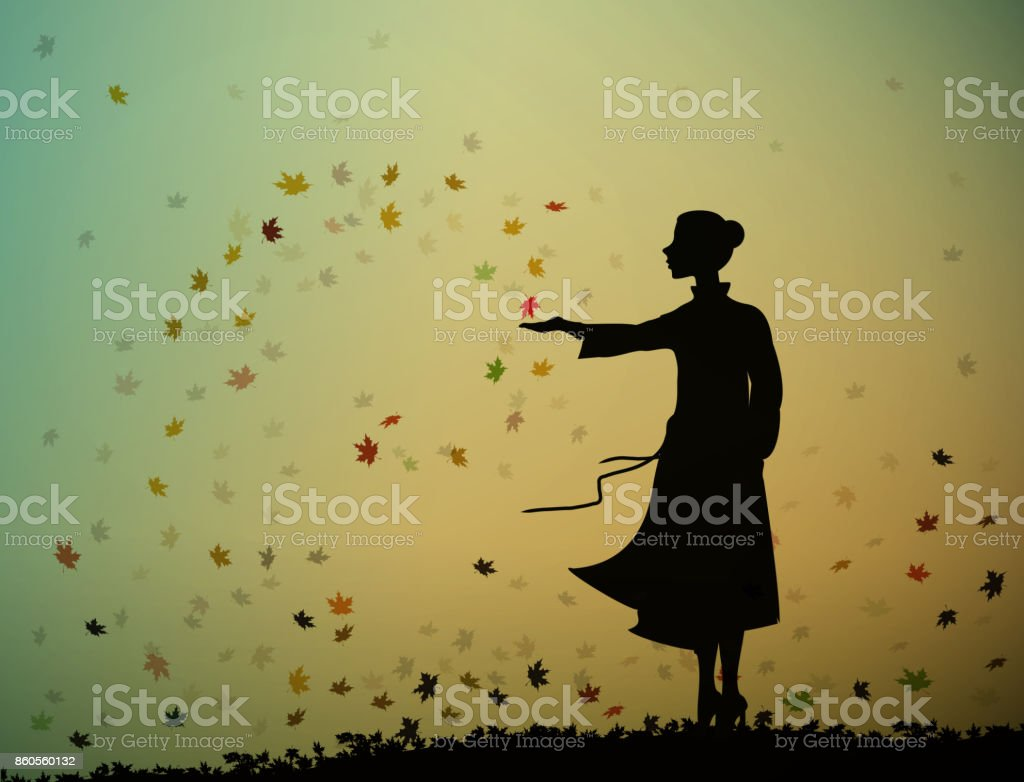 young girl is standing and touching the autumn leaves, autumn feelings, autumn memories, vector art illustration