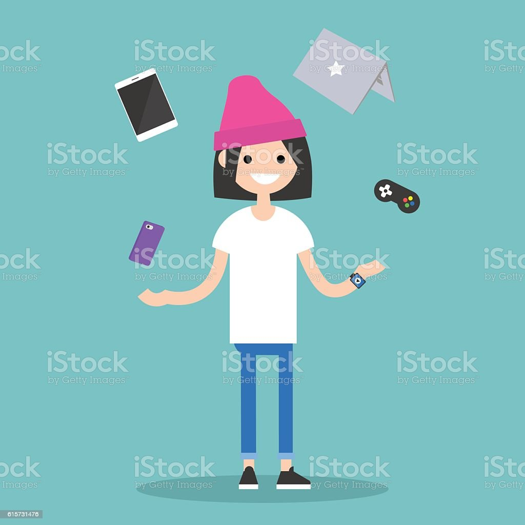 Young girl juggling electronic devices vector art illustration