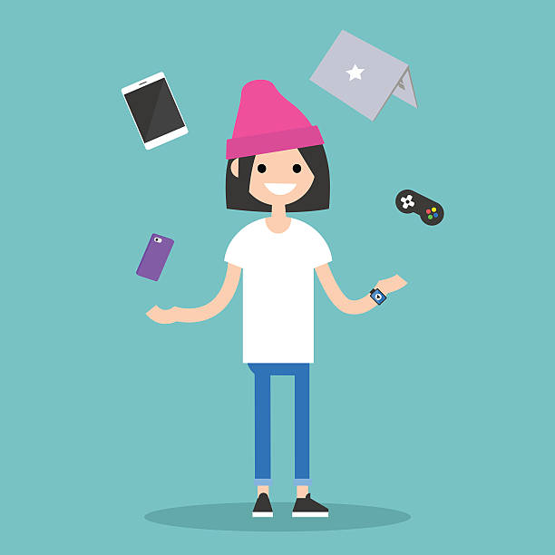 Young girl juggling electronic devices editable flat vector illustration nerd hairstyles for girls stock illustrations
