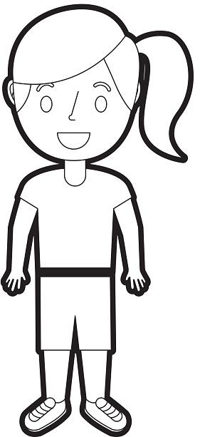 Young Girl Kid Character Standing Cartoon Stock