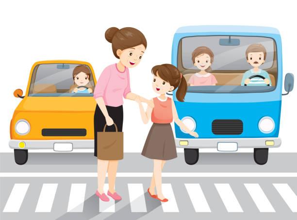 illustrazioni stock, clip art, cartoni animati e icone di tendenza di young girl leading old woman crossing the street on crosswalk. cars waiting them. - nonna e nipote camminare