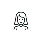 Young Girl Line Icon