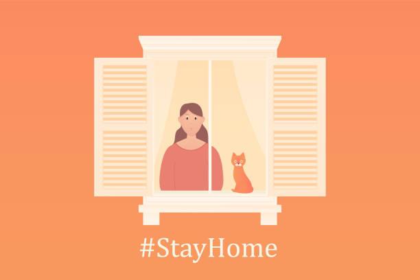 ilustraciones, imágenes clip art, dibujos animados e iconos de stock de una joven mira por la ventana con gato. - stay home