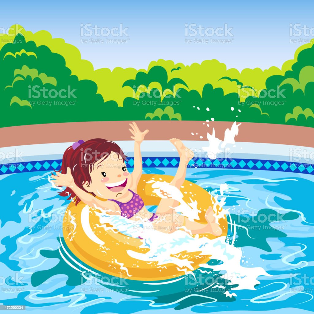 Young girl lying on inner tube in swimming pool vector art illustration