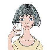 A young girl makes a selfie with a smartphone. Vector portrait illustration, isolated on white.