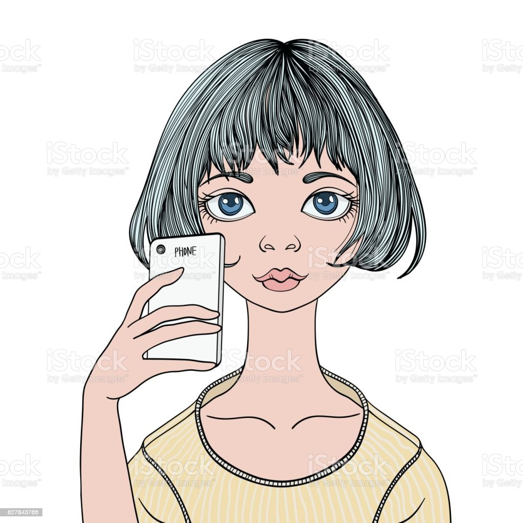 A young girl makes a selfie with a smartphone. Vector portrait illustration, isolated on white. vector art illustration