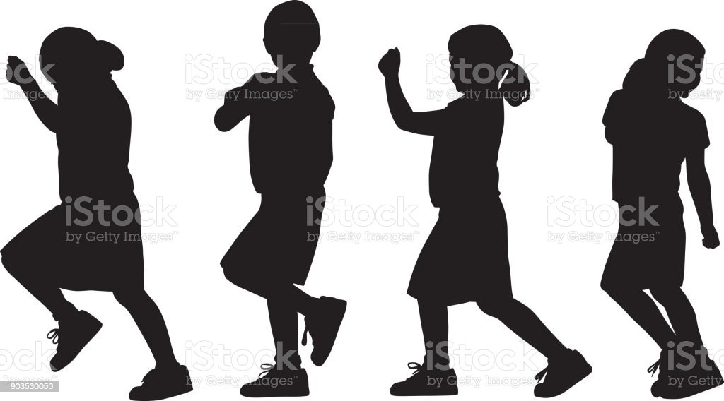 Young Girl Marching Silhouettes vector art illustration