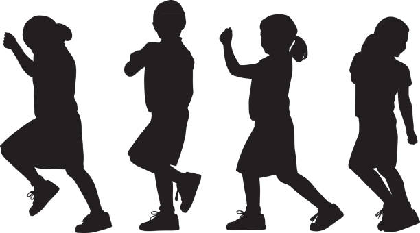 Young Girl Marching Silhouettes Vector silhouettes of a young girl marching. children only stock illustrations