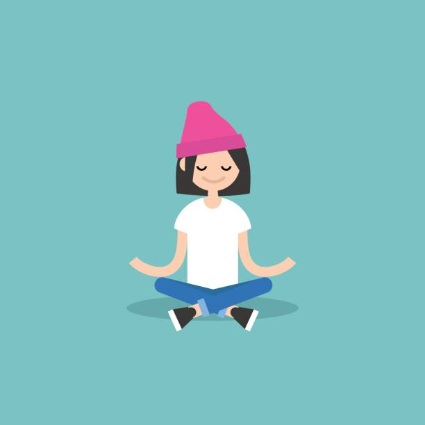 Young girl meditating with closed eyes in lotus pose. Yoga and meditation vector art illustration