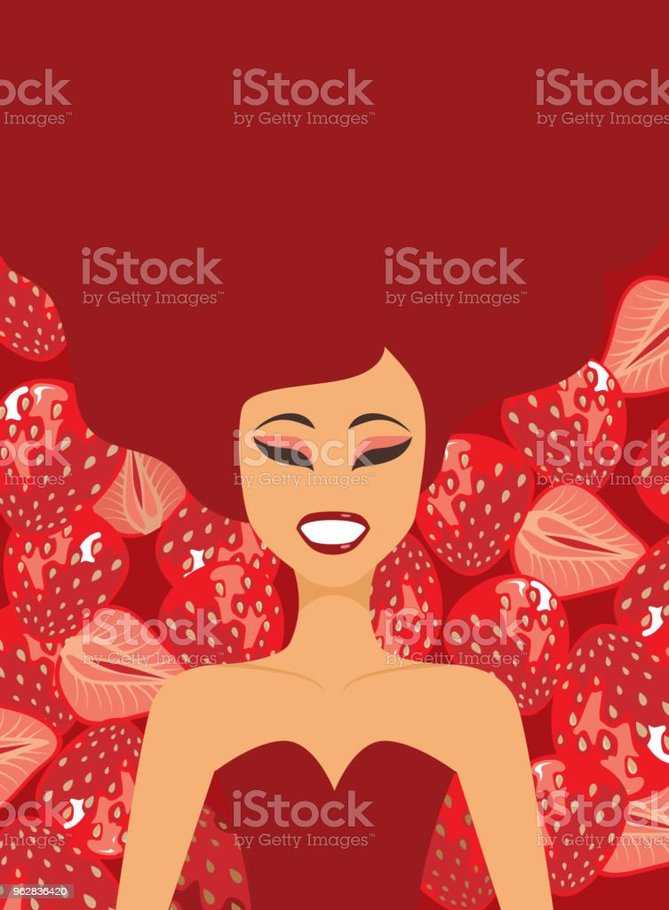 Young girl on strawberries background - arte vettoriale royalty-free di Adulto