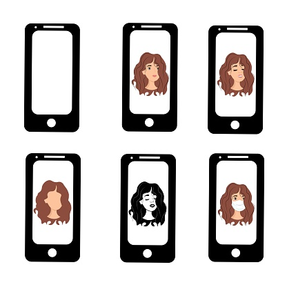 Young girl on the phone screen. Emotions of a woman on the screensaver of a smartphone. Remote communication using gadgets. Stock vector illustration for business, internet, social networks.
