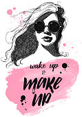 Young girl or woman graphic portrait with sun glasses from wake up and make up design vector illustration