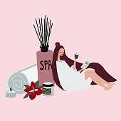 young girl or woman is reading book, drinking and relaxing  in spa salon. Beauty salon, wellness center poster, banner. Hand drawn concept of beauty. Vector illustration.