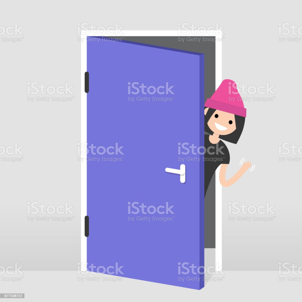 Young girl peeking out from behind the door. Hello or Goodbye hand waving. Welcome home. Flat editable vector illustration, clip art vector art illustration