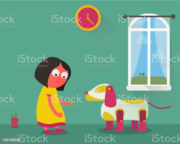 Young girl playing at home with robotic dog toy vector id1031459152?b=1&k=6&m=1031459152&s=612x612&h=9tavire7tzvxlf7kj6bisaydvswqhin2eduie89o3fi=