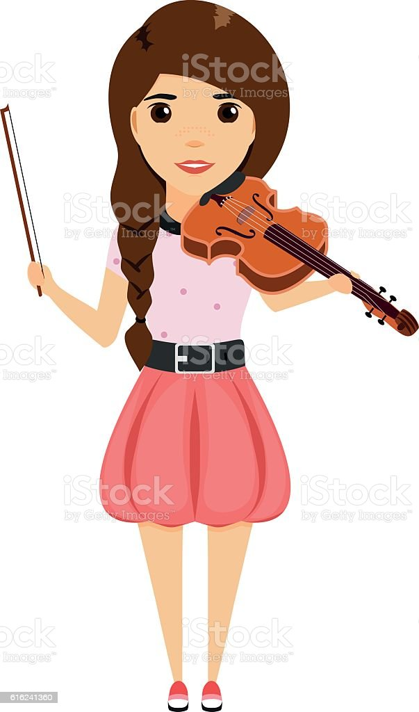 young girl playing the violin vector art illustration