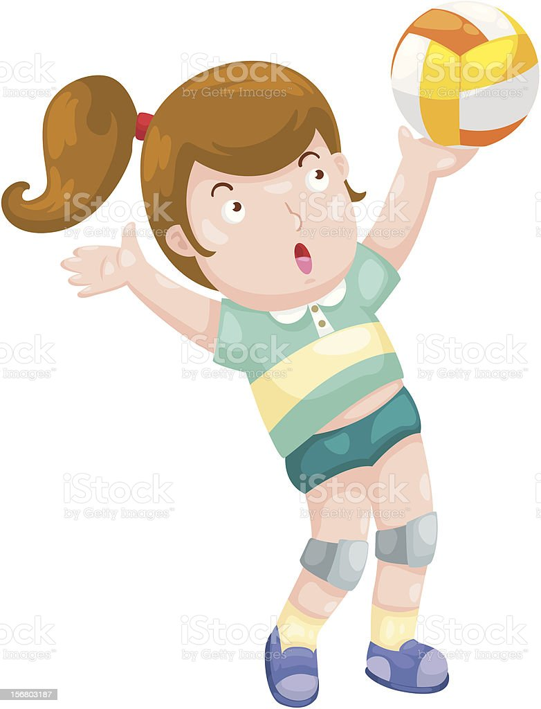 Young Girl playing volleyball royalty-free stock vector art