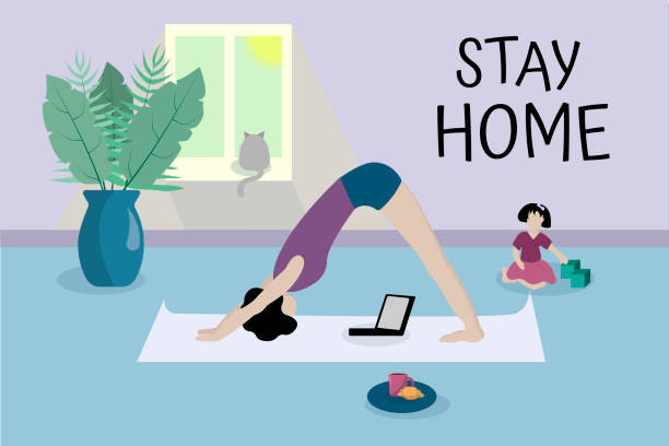 ilustrações de stock, clip art, desenhos animados e ícones de young girl practices yoga in front of laptop in her apartment. text stay home. against background of child, cat, vase with tropical plants. home office, freelancer - young girl computer home front
