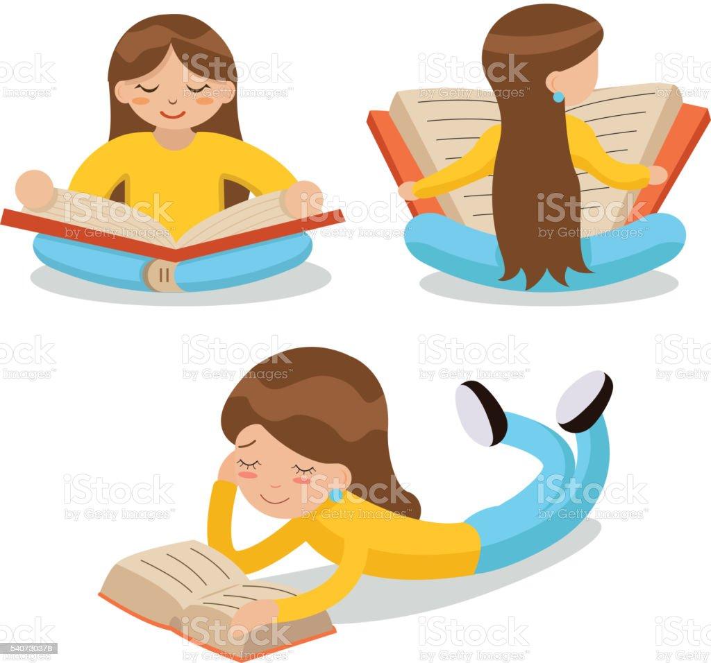 Junges Mädchen Sitzen Auf Boden Lesen Buchsymbol Symbol Zeichen ...