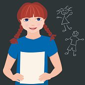 Vector illustration of a little girl happily reading her book report  in front of class. She wearing a blue shirt and has blue eyes and her red hair is in two braids. In her hands, she has her report she wrote. Behind her is a blackboard with a boy and girl stick figures drawn on it.