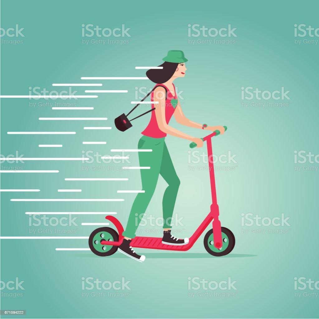 Young girl riding a scooter. Cartoon illustartion. Flat style. vector art illustration