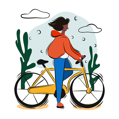 Young Girl Riding Bicycle. Cartoon Style Vector Illustration