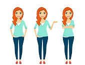 Young girl, set. The girl with red hair is in different poses. Flat style on white background. Cartoon.