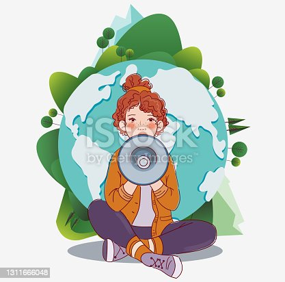istock Young girl shouting on the megaphone. World map background. Eco friendly ecology concept stock illustration 1311666048