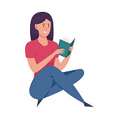 Cute dark-haired girl in blue pants enjoying reading book. Isolated vector icon illustration on white background in cartoon style.