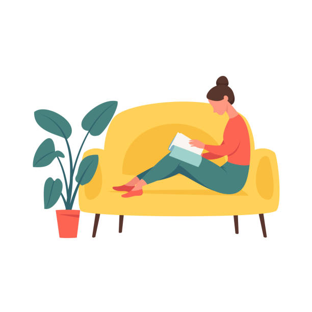 Young girl sitting in comfortable couch and and flipping through the magazine . Young girl sitting on the comfortable couch and flipping through the magazine. Woman spending evening time at home. Colored vector illustration in flat cartoon style. book clipart stock illustrations