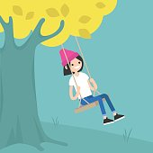 Young girl sitting on the swing / editable flat vector illustration