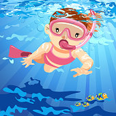 Little girl snorleling underwater with fish on summer time.