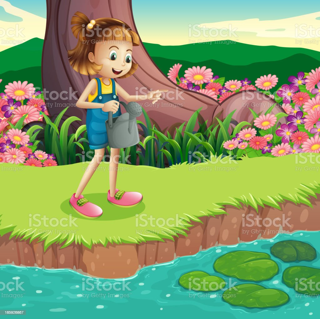 young girl standing at the riverbank holding a sprinkler royalty-free stock vector art