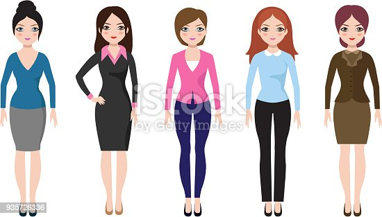 istock Young girl standing in different casual clothes isolated. Businesswoman in dress and pants vector set 935726336