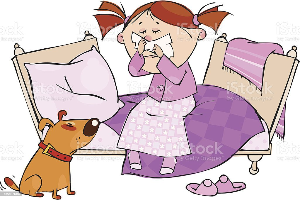 Young girl suffering from a cold with her dog looking at her royalty-free stock vector art