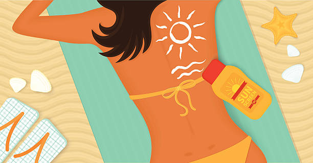 Young girl sunbathes on a beach vector art illustration