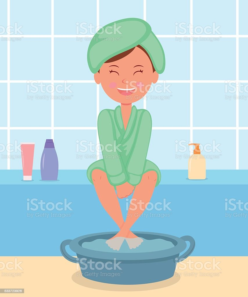 Young girl taking Spa treatments. vector art illustration