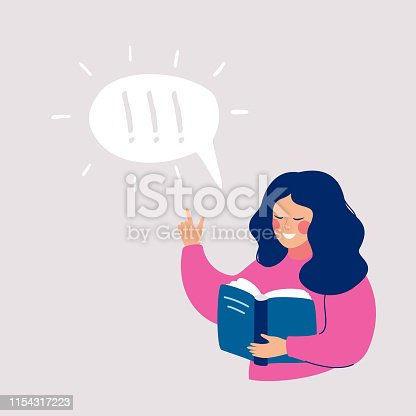 istock Young girl thinking about that she reading in the book and idea came to her 1154317223