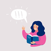 Young girl thinking about that she reading in the book and idea came to her. Speech bubble above with exclamation mark. Human character vector illustration