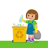 Young Girl Throwing Plastic Bottles In Recycle Bin. Waste Recycling. Environmental Protection.