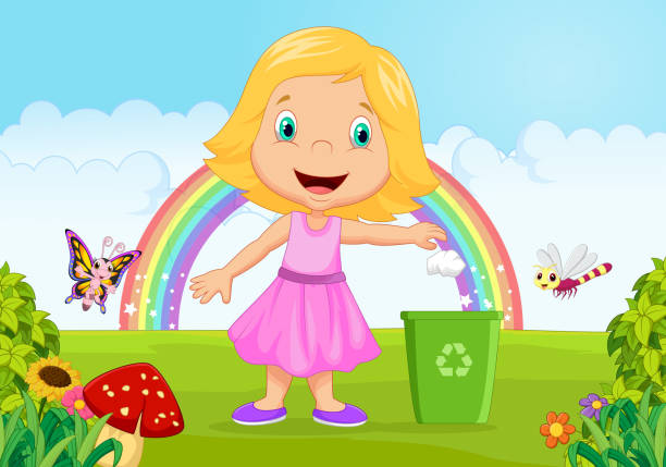 young girl throwing trash into litter bin in the jungle - child throwing garbage stock illustrations, clip art, cartoons, & icons