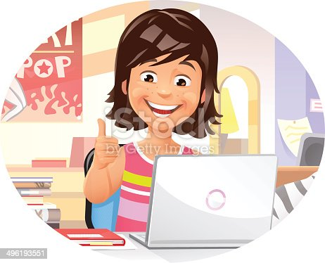 istock Young Girl Using Laptop 496193551
