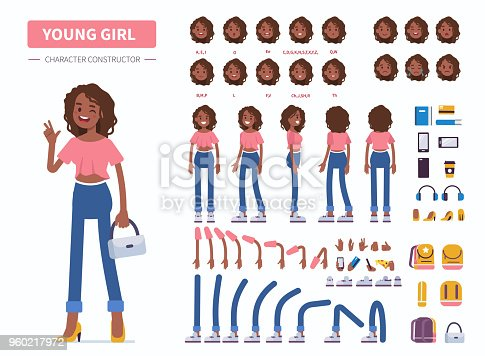 Young  african american girl or teenager character constructor for animation. Front, side and back view. Flat  cartoon style vector illustration isolated on white background.