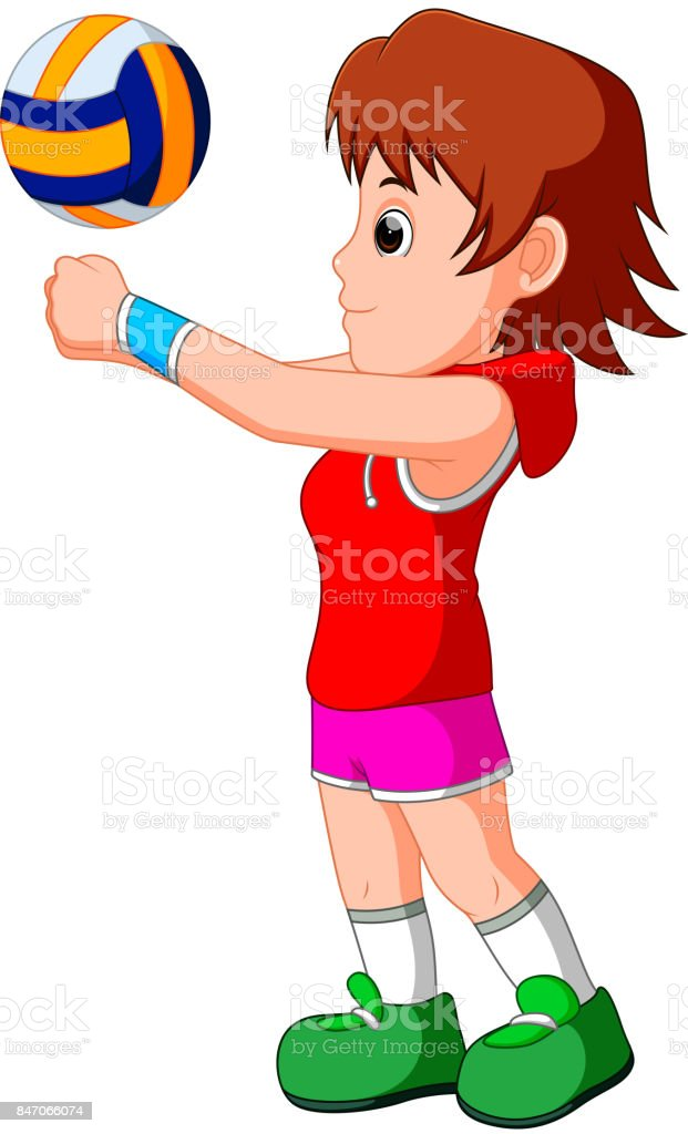 young girl volleyball player vector art illustration