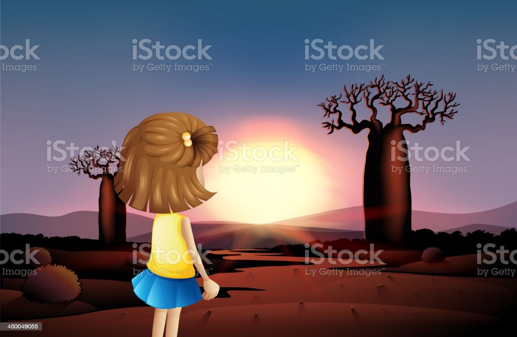 young girl watching sunset at the desert royalty-free young girl watching sunset at the desert stock vector art & more images of adult