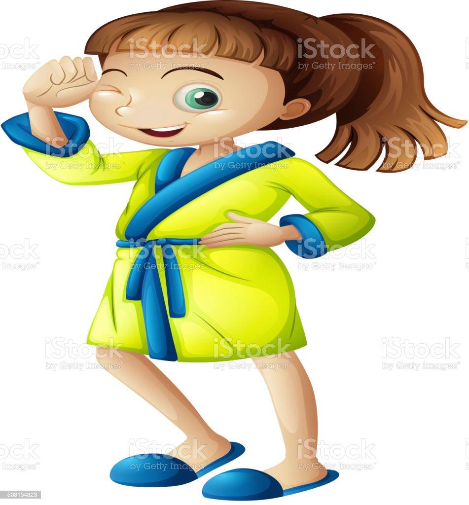 Young girl wearing a bathrobe vector art illustration
